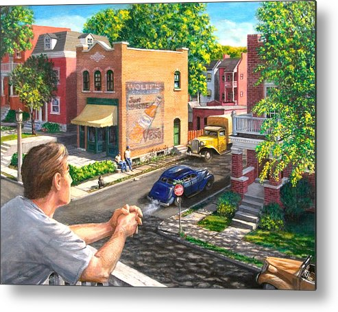 Cityscape Metal Print featuring the painting The Old Neighborhood by Edward Farber