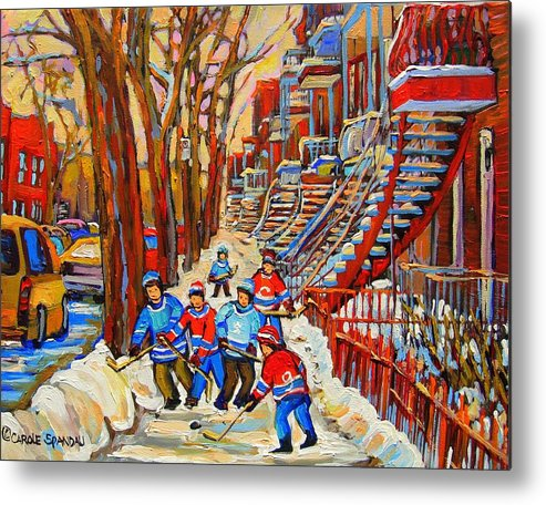 Metal Print featuring the painting The Red Staircase Painting By Montreal Streetscene Artist Carole Spandau by Carole Spandau