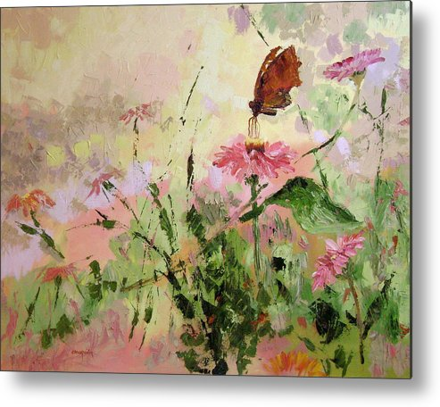 Butterflies Metal Print featuring the painting The Seeker by Ginger Concepcion