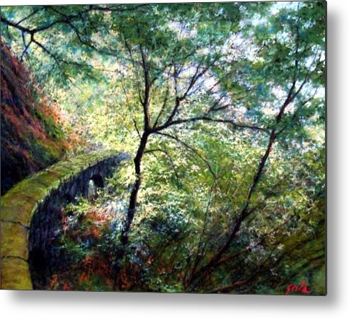 Pastel Metal Print featuring the painting The Stone Wall by Jim Gola