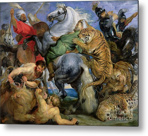 The Metal Print featuring the painting The Tiger Hunt by Rubens