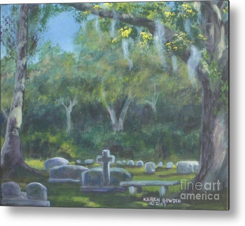 Landscape Cemetary Ghost Tree Florida Orlando Greenwood Metal Print featuring the painting The Visitor 75usd by Karen Bowden