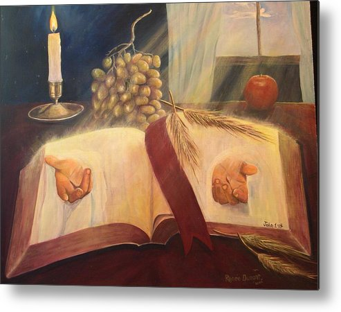 Contemporary Metal Print featuring the painting The Word Made Flesh by Renee Dumont Museum Quality Oil Paintings Dumont