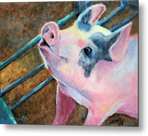 Animals Metal Print featuring the painting This Little Piggy by Stephanie Allison