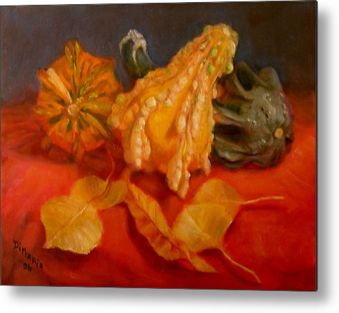 Realism Metal Print featuring the painting Three Squash by Donelli DiMaria