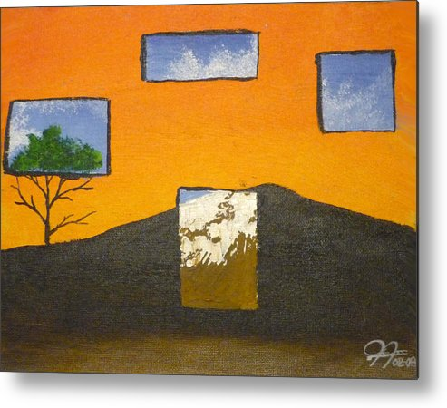 Landscape Metal Print featuring the painting Through The Window by Christian Hidalgo