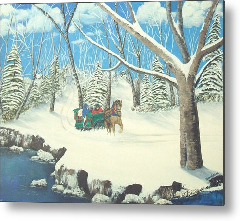 Snow Metal Print featuring the painting to Grandmothers House by Brandy House