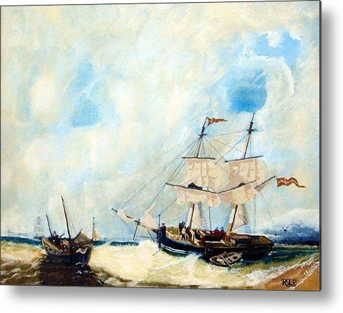 Sailing Metal Print featuring the painting Too Close To Shore by Richard Le Page
