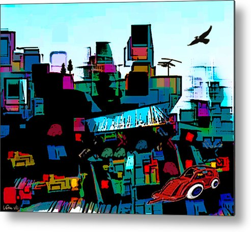 City Metal Print featuring the digital art Toyland by Sabine Stetson
