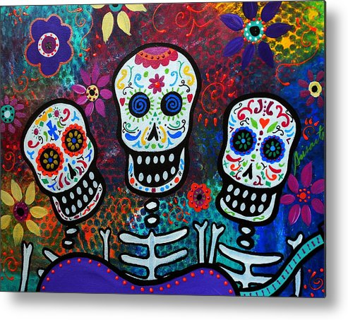 Tres Metal Print featuring the painting Tres Amigos by Pristine Cartera Turkus