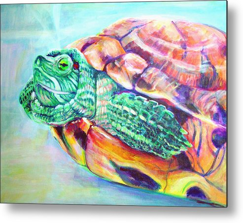 Turtle Metal Print featuring the painting Turttleneck by Gail Wartell