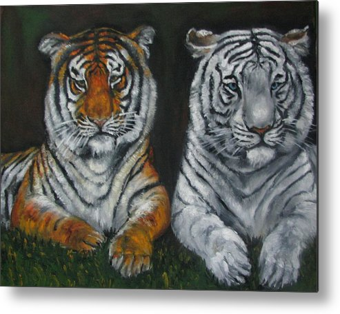 Tigers Metal Print featuring the painting Two Tigers Oil Painting by Natalja Picugina