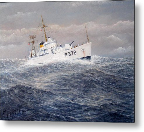 Coast Guard Cutter Metal Print featuring the painting U. S. Coast Guard Cutter Halfmoon by William H RaVell III