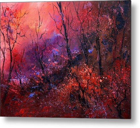 Wood Sunset Tree Metal Print featuring the painting Unset In The Wood by Pol Ledent