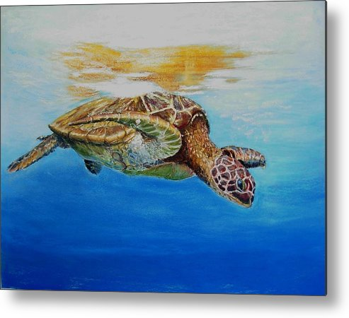 Wildlife Metal Print featuring the painting Up For Some Rays by Ceci Watson