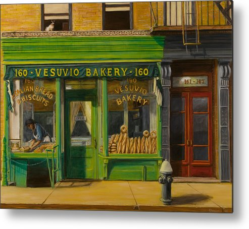 Vesuvio Bakery Metal Print featuring the painting Vesuvio Bakery In New York City by Christopher Oakley