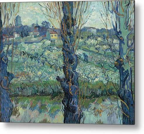 Cityscape Metal Print featuring the painting View Of Arles, Flowering Orchards by Vincent van Gogh