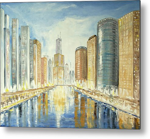 Chicago Metal Print featuring the painting View Up The Chicago River by Ken Wood