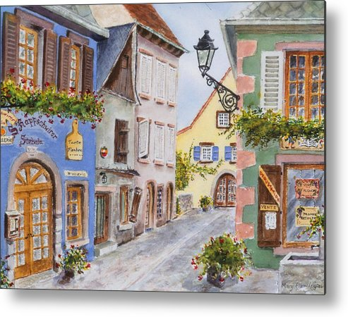 Village Metal Print featuring the painting Village In Alsace by Mary Ellen Mueller Legault