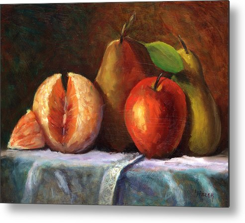 Fruit Painting Metal Print featuring the painting Vintage-fruit by Linda Hiller