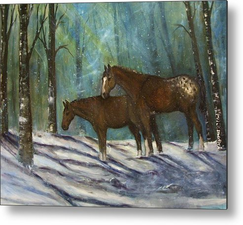 Horses Metal Print featuring the painting Waiting For Spring by Darla Joy Johnson