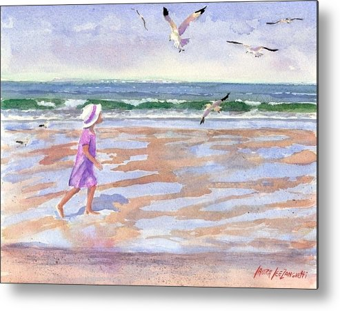 New England Metal Print featuring the painting Walking The Cape by Laura Lee Zanghetti
