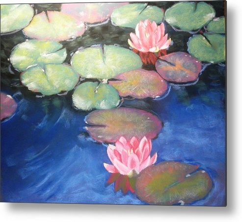 Water Metal Print featuring the pastel Water Lilies by Elaine Furman