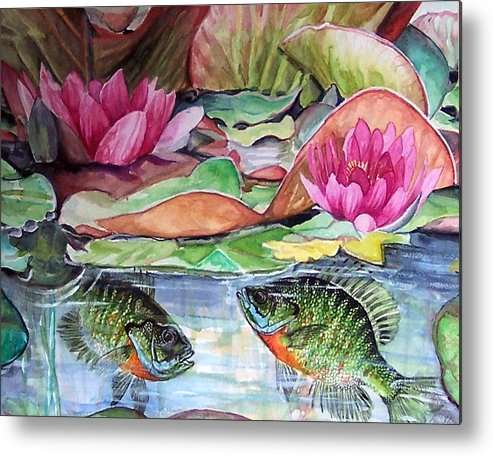 Waterlillies Metal Print featuring the print Waterlillies And Blue Giles by Bette Gray