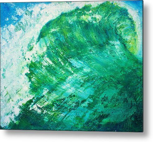 Wave Green Wave Mixed Medium Surfing Beach Tropical Summer Mixed Media Oils Painting Wax Texture Mi Metal Print featuring the painting wave IX by Martine Letoile