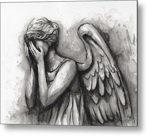 Weeping Angel Metal Print featuring the painting Weeping Angel Watercolor by Olga Shvartsur