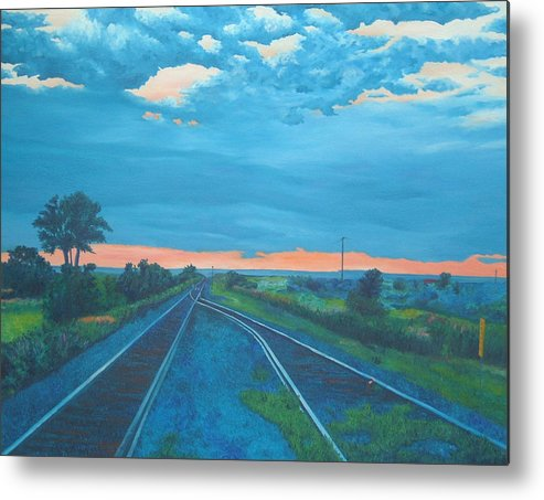 Railroad Tracks Metal Print featuring the painting Where Little Boys Play by Blaine Filthaut