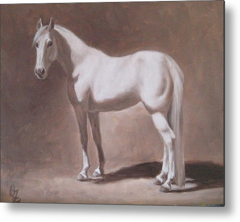 Horse Metal Print featuring the painting White Horse Study by Oksana Zotkina