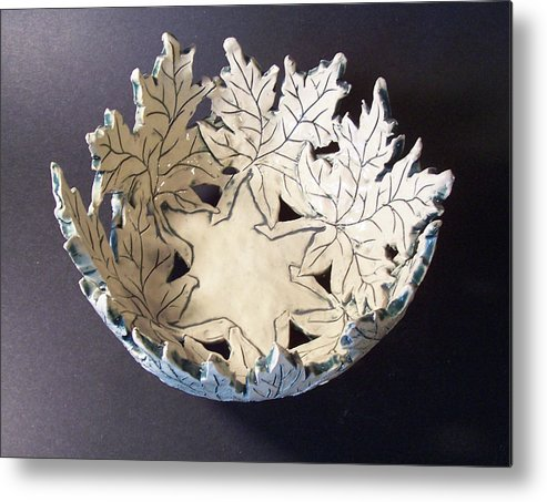 Clay Metal Print featuring the ceramic art White Maple Leaf Bowl by Carolyn Coffey Wallace