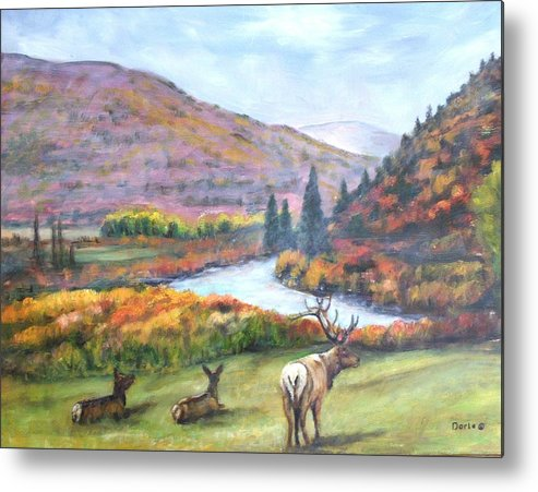 Landscape Metal Print featuring the painting White River by Darla Joy Johnson