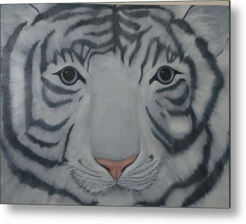 White Tiger Metal Print featuring the painting White Tiger by Toni Berry