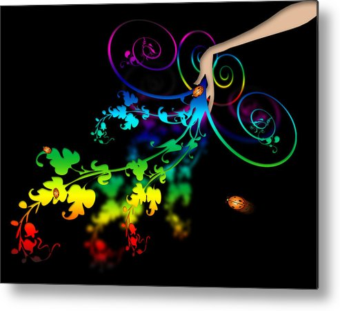 Abstract Metal Print featuring the digital art Wild Flowers by Svetlana Sewell