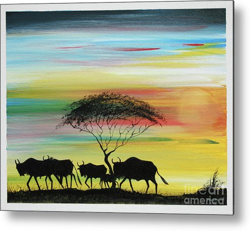Painting Metal Print featuring the painting Wildbeest 1 by Abu Artist