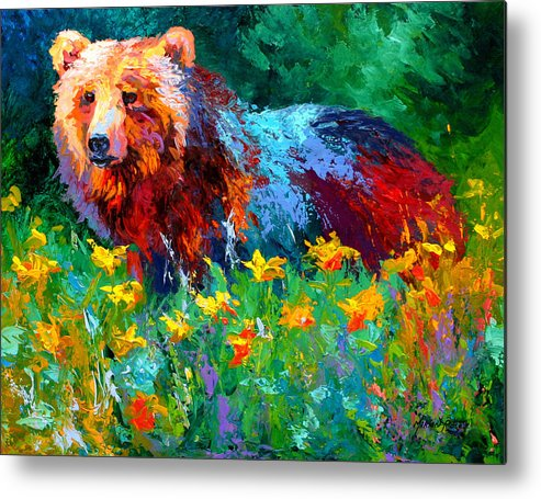Bear Metal Print featuring the painting Wildflower Grizz II by Marion Rose