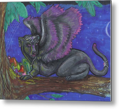 Cat Metal Print featuring the drawing Winged Panther Kitten Cub by Stephanie Small