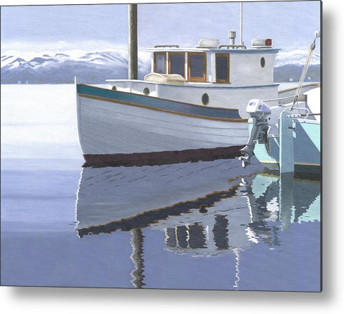 Marine Metal Print featuring the painting Winter Moorage by Gary Giacomelli