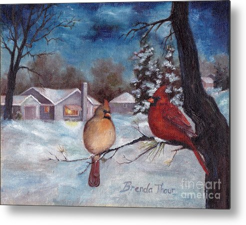 Cardinals Metal Print featuring the painting Winters Serenity by Brenda Thour