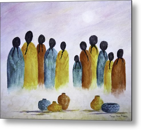 Southwest Metal Print featuring the painting Women Waiting by Terry Ann Morris