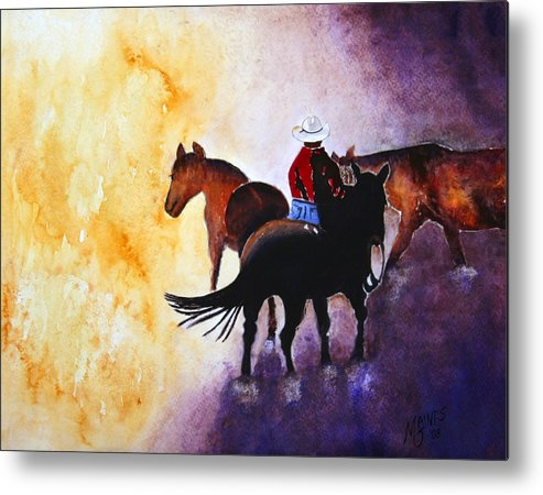 Rancher Metal Print featuring the painting Wranglers Work Day by Mary Gaines