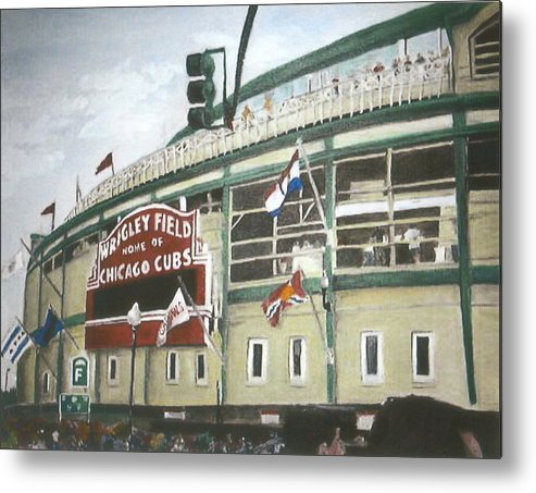 Wrigley Field Metal Print featuring the painting Wrigley Field by Travis Day