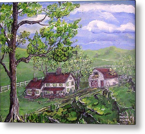 Landscape Metal Print featuring the painting Wyoming Homestead by Phyllis Mae Richardson Fisher