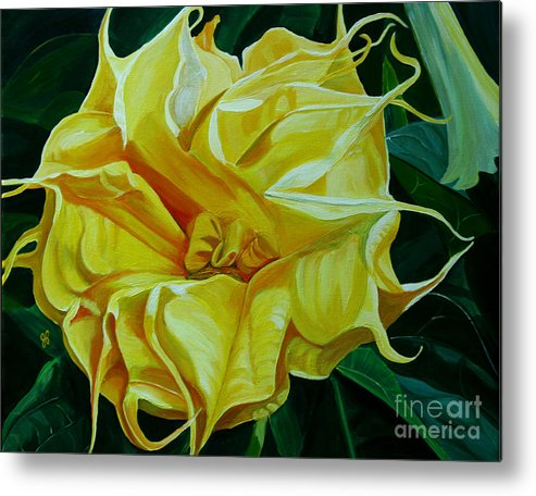Macro Metal Print featuring the painting Yellow Blast by Julie Pflanzer