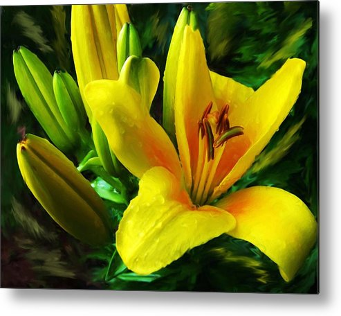 Lily Metal Print featuring the digital art Yellow Lily by Jim Darnall
