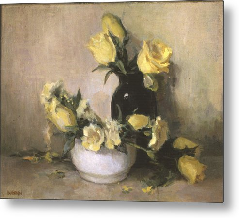 Yellow Roses Metal Print featuring the painting Yellow Roses by Joan DaGradi