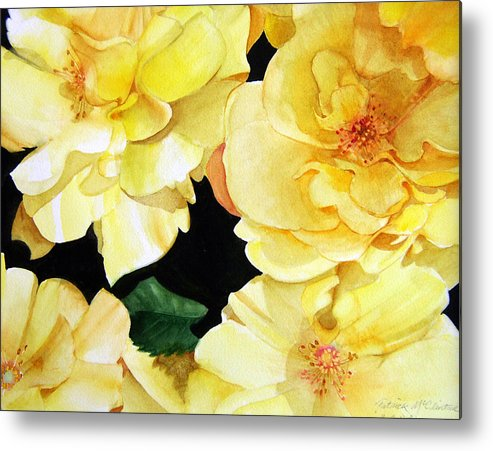 Floral Roses Metal Print featuring the painting Yellow Roses by Patrick McClintock