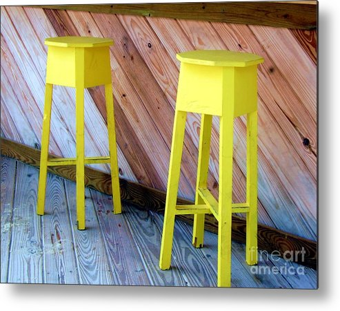 Yellow Metal Print featuring the photograph Yellow Stools by Debbi Granruth